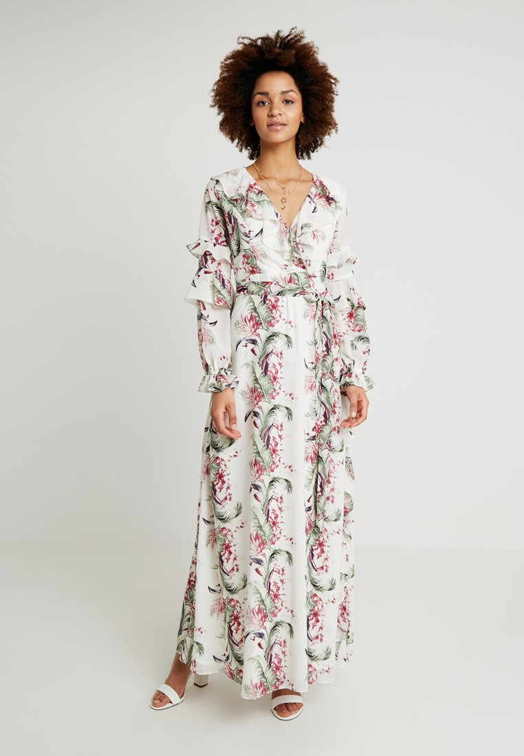 Honey Punch - FLORAL RUFFLE DRESS - Maxi dress - ivory