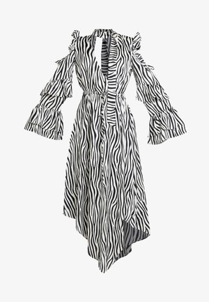 NECK TIE DRESS - Vestito lungo - black/white