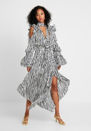 NECK TIE DRESS - Robe longue - black/white