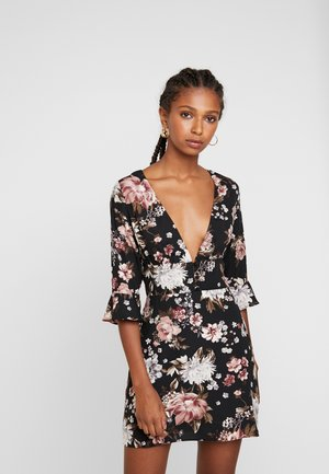 PRINTED BIAS NECK DRESS - Vapaa-ajan mekko - black