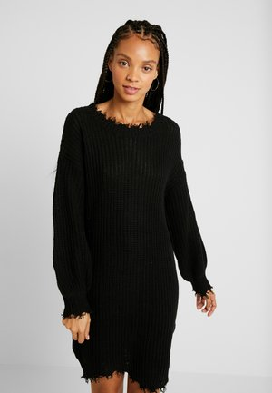 DRESS WITH DESTRUCTION - Robe pull - black