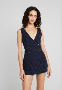 Honey Punch - SLEEVELESS STRIPED DRESS WITH SUITING DETAIL BUTTONS - Day dress - navy - 0