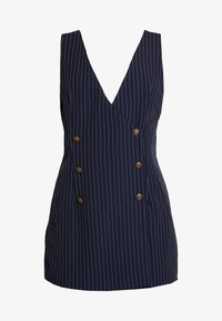 Honey Punch - SLEEVELESS STRIPED DRESS WITH SUITING DETAIL BUTTONS - Day dress - navy - 4