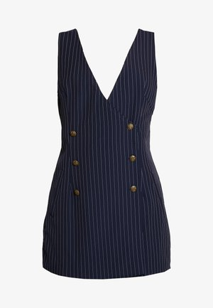 SLEEVELESS STRIPED DRESS WITH SUITING DETAIL BUTTONS - Day dress - navy