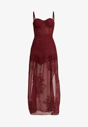 SPAGHETTI STRAP DRESS - Vestido largo - burgundy