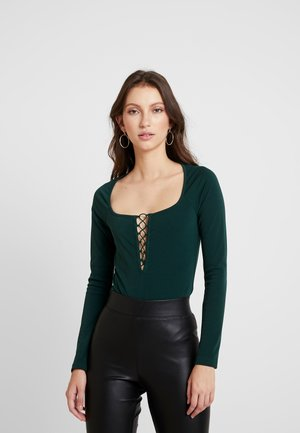 LACE UP BODYSUIT - Long sleeved top - hunter green