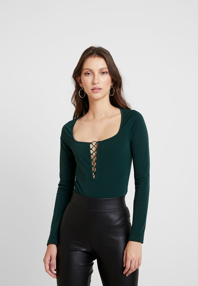 LACE UP BODYSUIT - Maglietta a manica lunga - hunter green