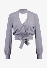 Honey Punch - CHOKER NECK WRAP FRONT - Bluzka z długim rękawem - dk. grey - 3