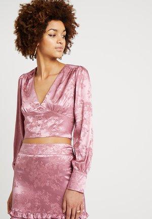 TONAL BUTTON FRONT CROP - Blouse - dusty pink