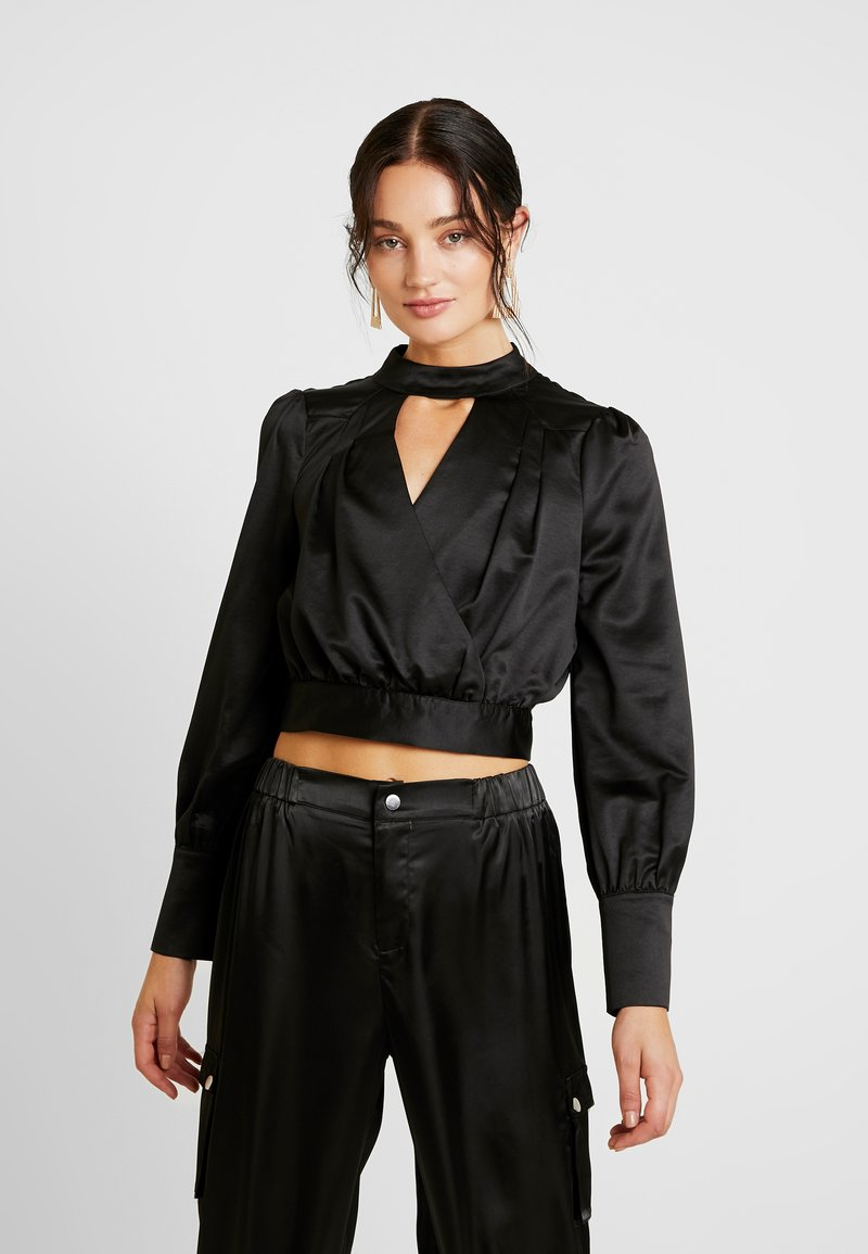 Honey Punch - NECK WRAP FRONT LONG SLEEVE - Camicetta - black