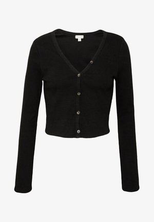 V NECK BUTTON DOWN - Cardigan - black