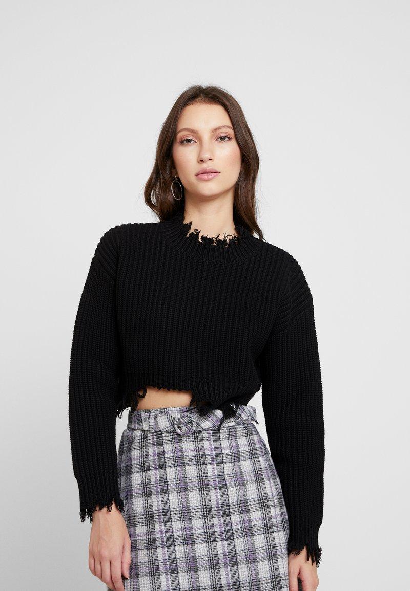 Honey Punch - UNEVEN HEM - Pullover - black
