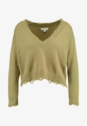 DESTRUCTED V-NECK - Pullover - olive