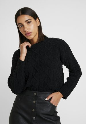 CABLE FRONT SWEATER - Neule - black