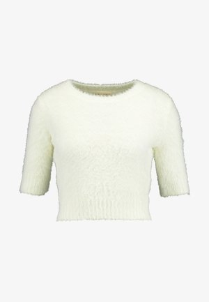SHORT SLEEVE FURRY SWEATER - T-shirt imprimé - cream