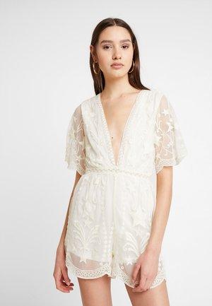 EMBROIDERED VNECK DRESS - Tuta jumpsuit - cream