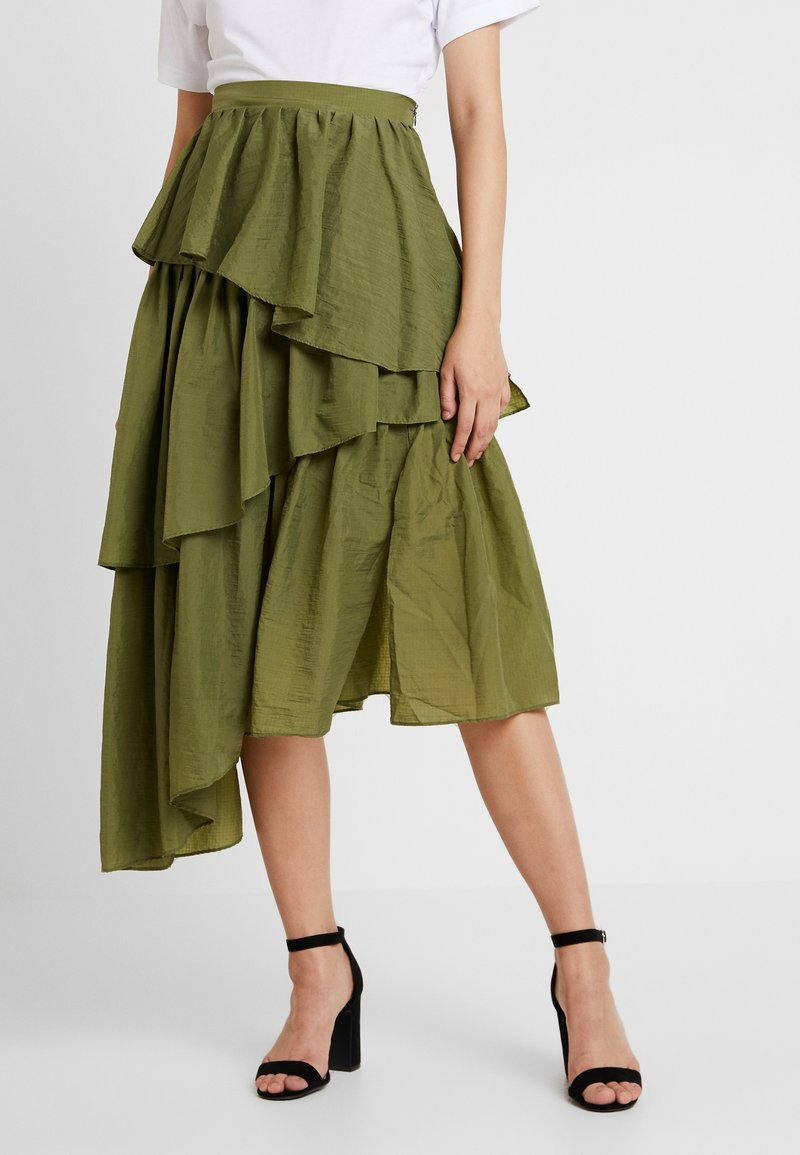 House of Holland - FRILL MIDI SKIRT - Pleated skirt - khaki green