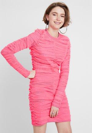 BRIGHT GATHERED MINI DRESS - Shift dress - neon pink