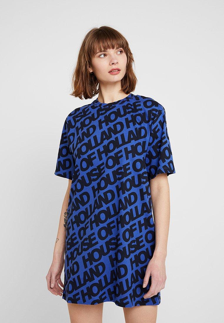 House of Holland - LOGO PRINT ALINE DRESS - Jersey dress - blue/black