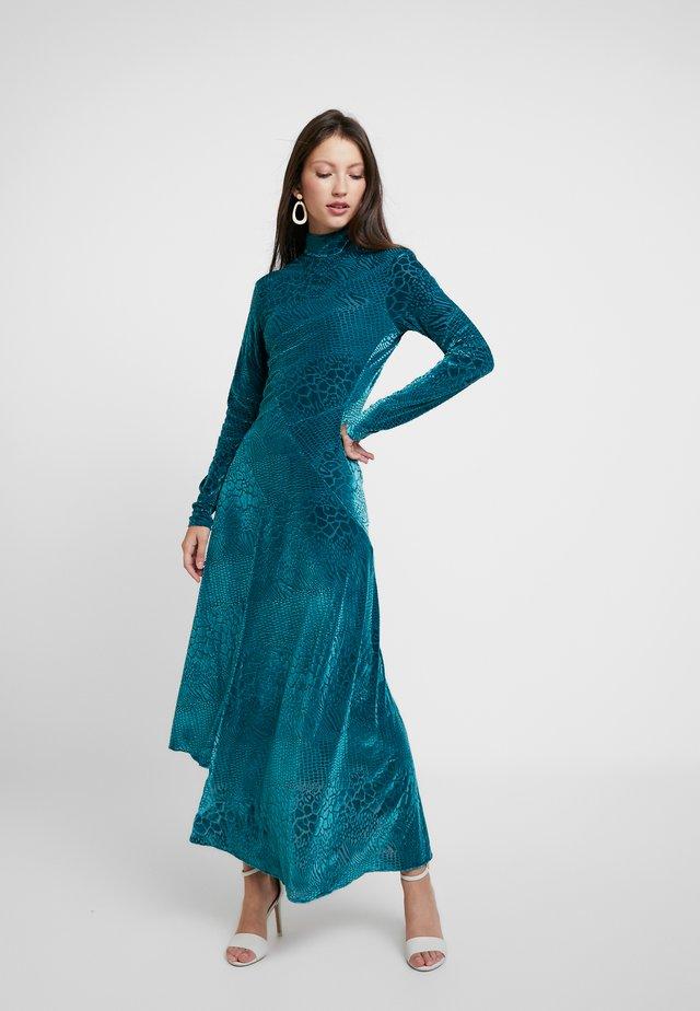 SNAKE DEVORE ASYMMETRIC DRESS - Occasion wear - teal