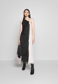 House of Holland - ONE SHOULDER POLKA GATHERED DRESS - Cocktail dress / Party dress - black/white - 1