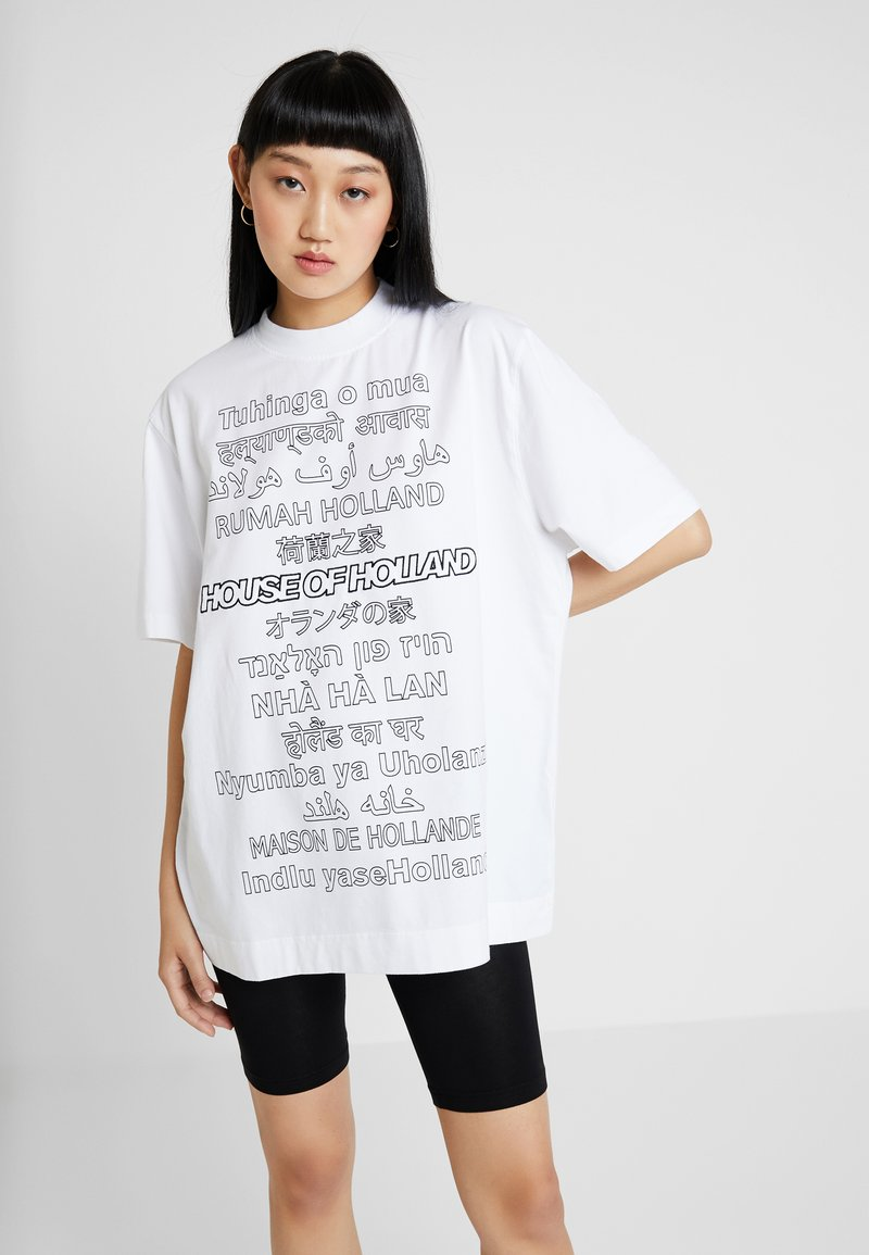 House of Holland - OVERSIZED TEE - Print T-shirt - white