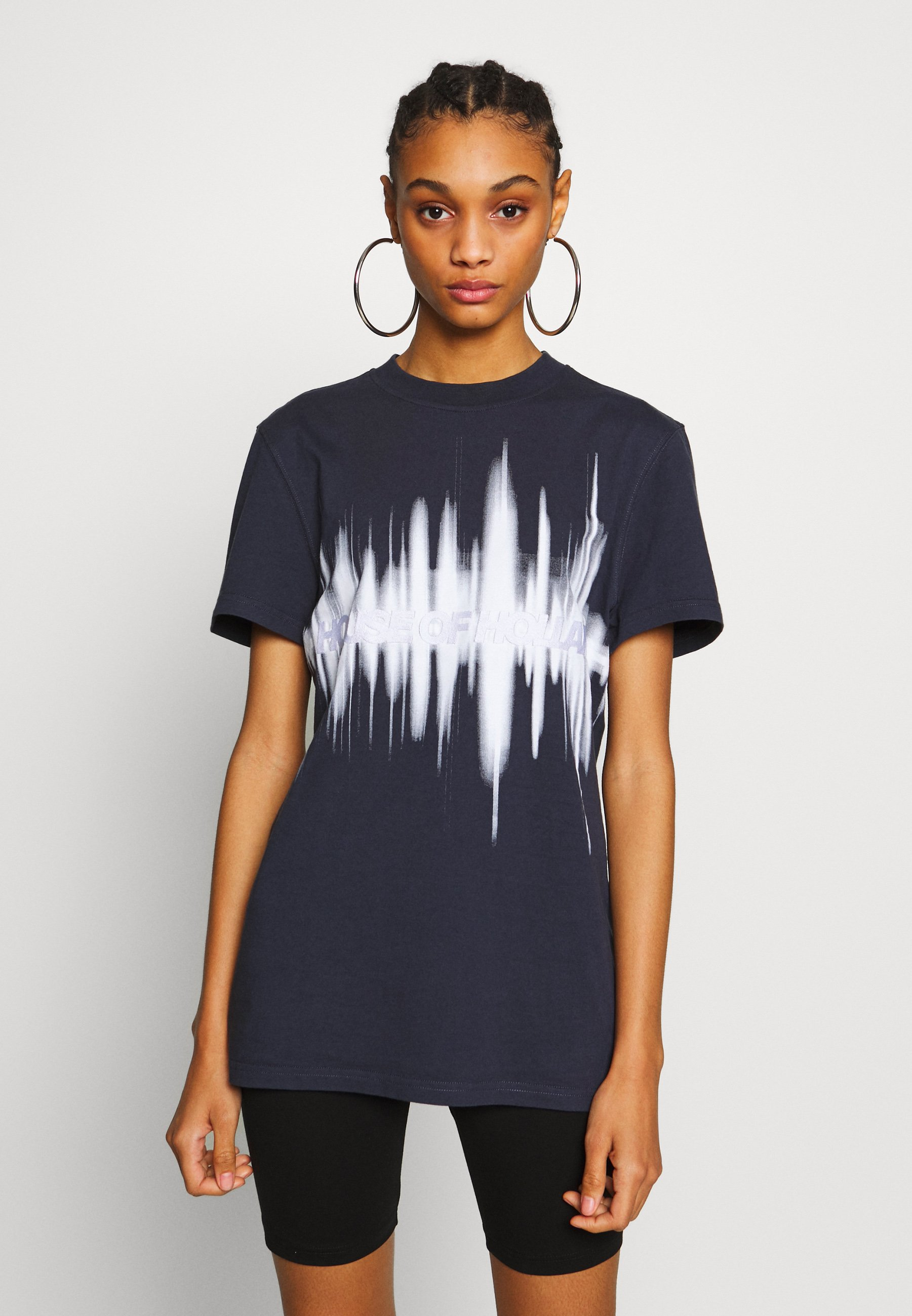 House of Holland MUTED SOUNDWAVE TEE - T-shirts med print - navy