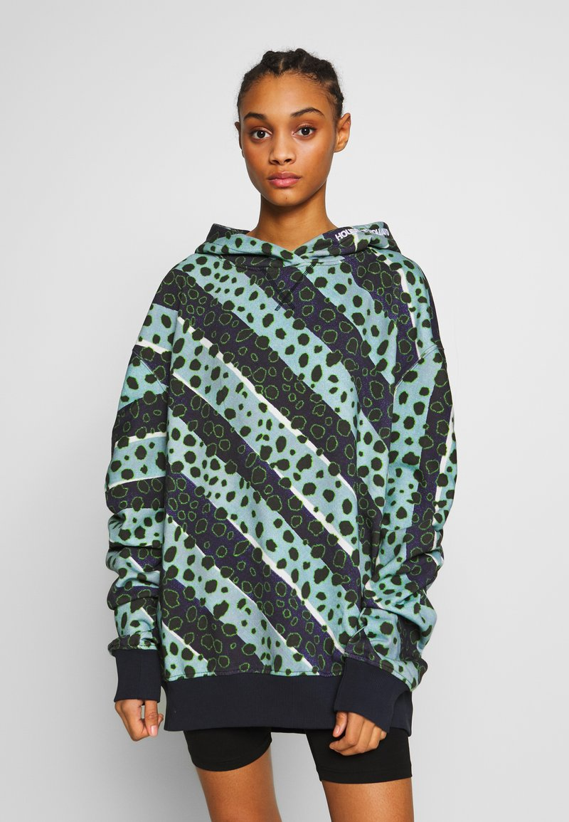 House of Holland - LONGLINE MUTED STRIPE CHEETAH HOODIE  - Mikina s kapucí - navy/multi-coloured