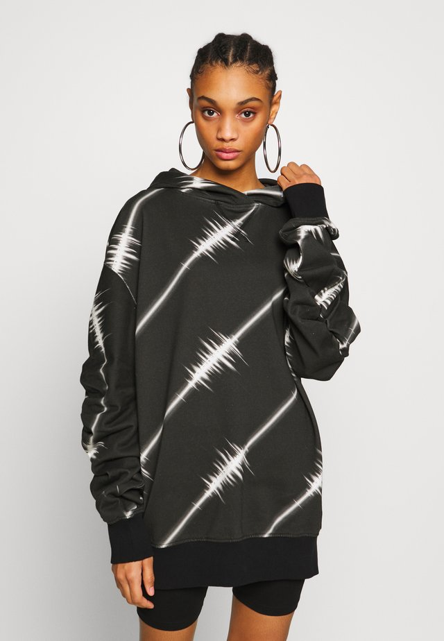 LONGLINE MONO SOUNDWAVE HOODIE  - Sweat à capuche - black