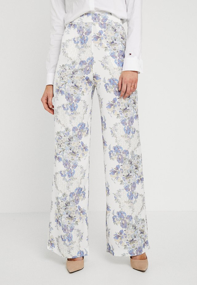 HIGH WAISTED TROUSERS - Pantaloni - cream/blue
