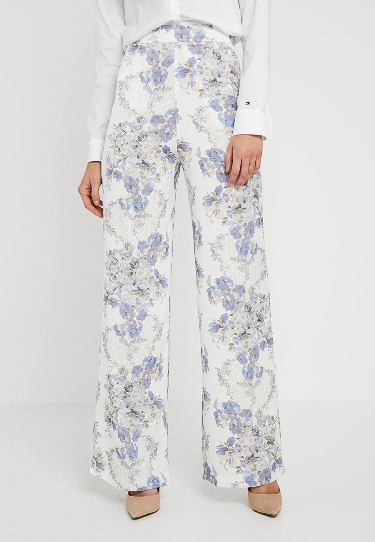 Hope & Ivy - HIGH WAISTED TROUSERS - Trousers - cream/blue