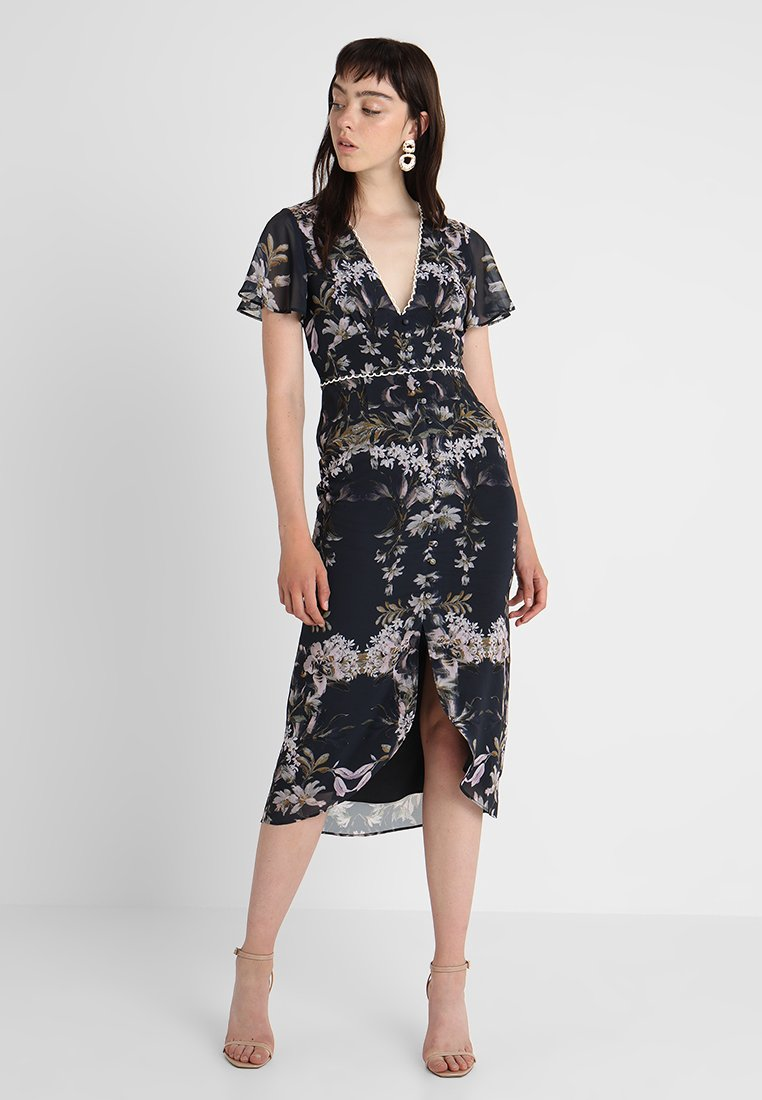 Hope & Ivy - MIRRORED PRINT TULIP HEM MIDI DRESS - Day dress - blue