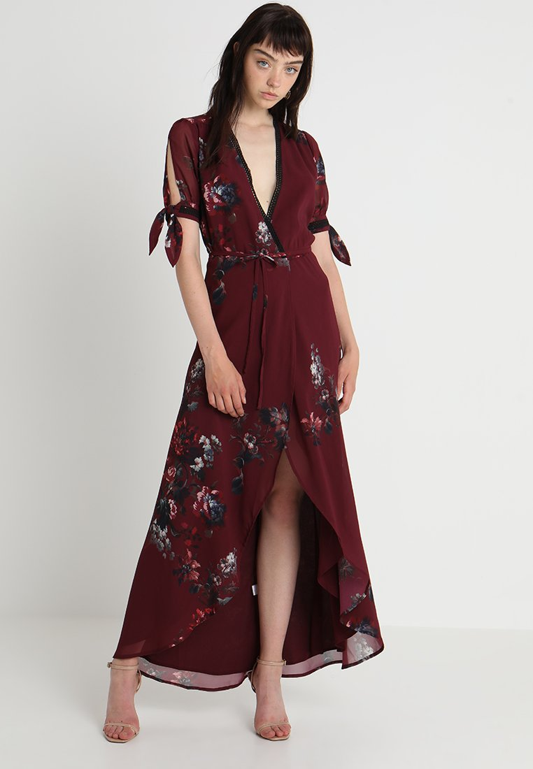 Hope & Ivy - TIE SLEEVE WRAP WITH TRIM DETAILING - Maxi dress - berry