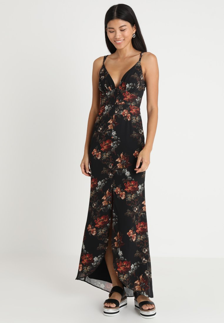 Hope & Ivy - CAMI WITH BUTTON DETAIL - Robe longue - black