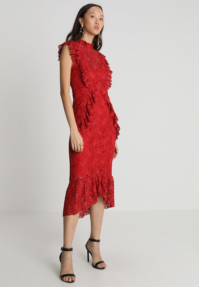 RUFFLE MIDI PEPLUM - Cocktail dress / Party dress - red