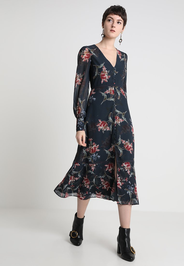 Hope & Ivy - PLUNGE BUTTON DOWN LONG SLEEVE  - Maxi šaty - navy