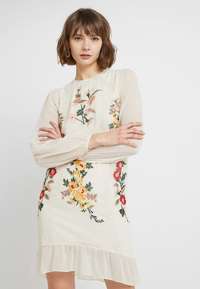 LONG SLEEVE MINI WITH EMBROIDERY - Vestito elegante - cream