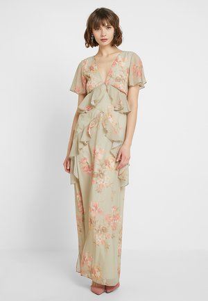 PLUNGE MAXI WITH DOUBLE FRILL - Gallakjole - sage