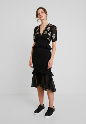 PEPLUM WAIST MIDI DRESS WITH EMBROIDERY - Cocktail dress / Party dress - black