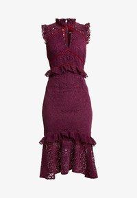Hope & Ivy - PEPLUM DRESS WITH TRIMS - Koktejlové šaty/ šaty na párty - burgundy - 5