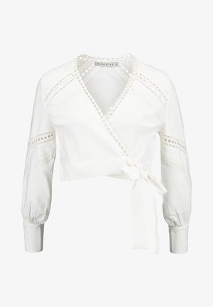 LONG SLEEVE WRAP WITH TIE - Bluse - cream