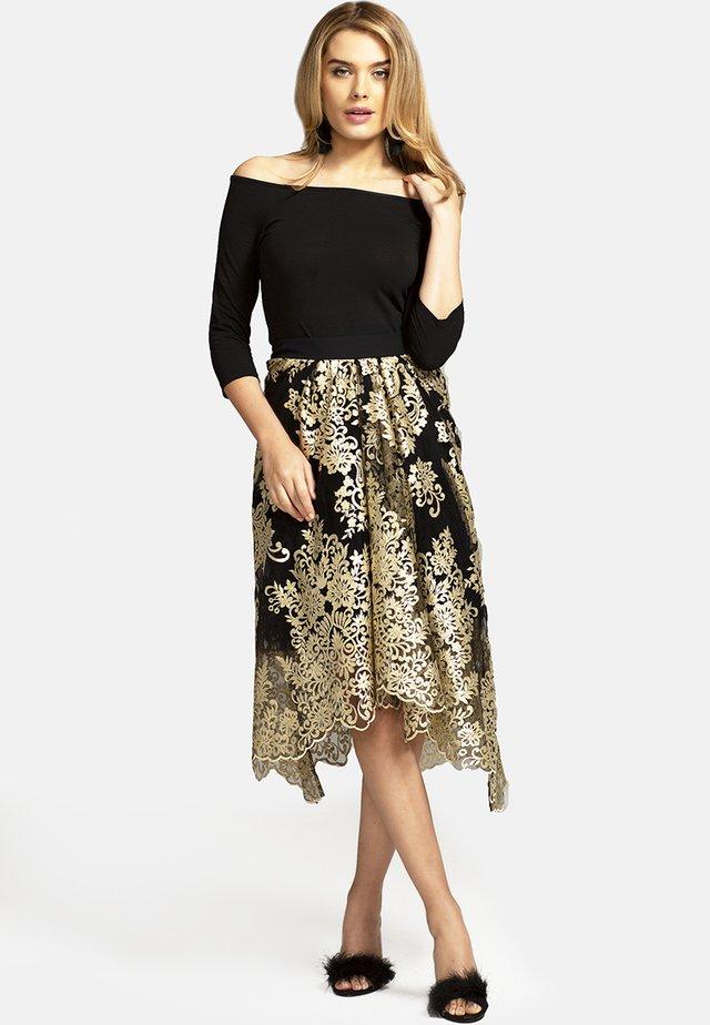 CARRIE  - Spódnica plisowana - gold/black