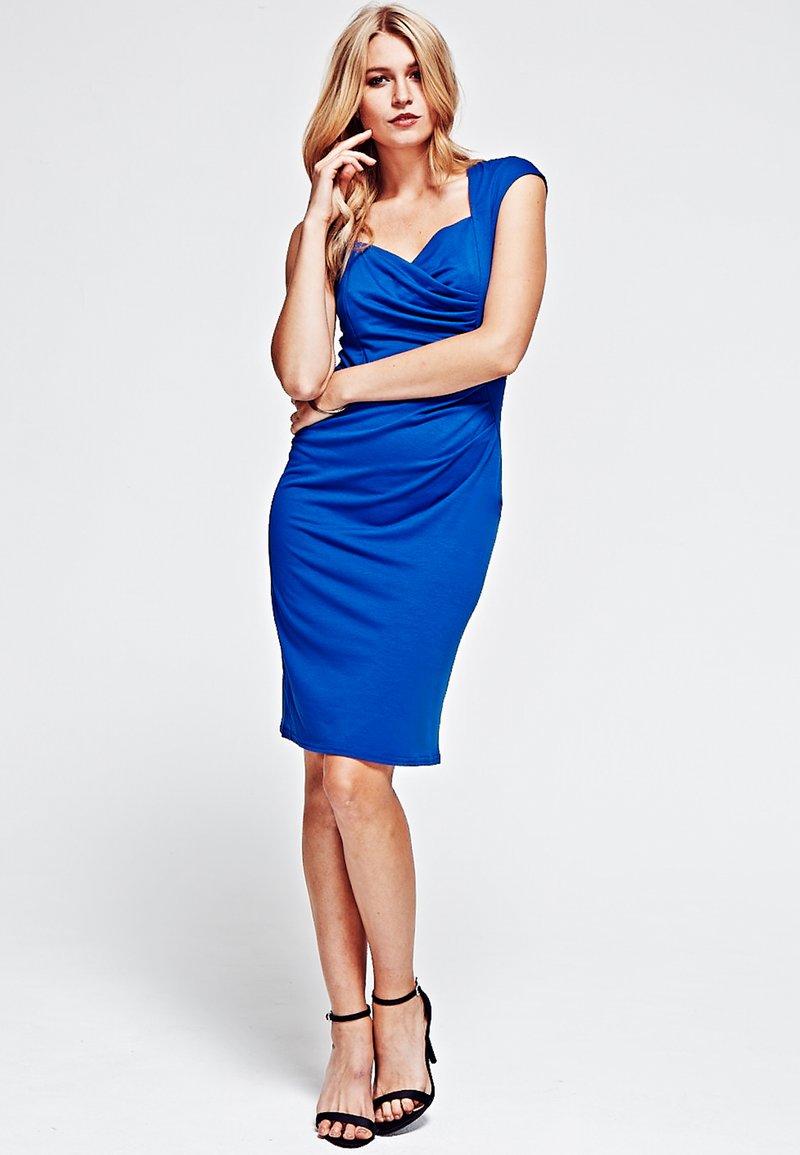 HotSquash - SHORT SLEEVED DRESS WITH CROSSOVER TOP - Fodralklänning - midnight blue
