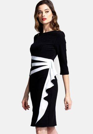 CONTRAST SIDE FRILL - Vestido de tubo - black