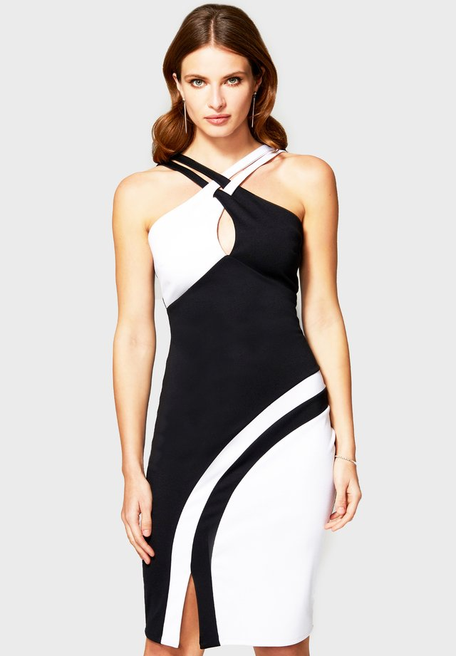 HALTERNECK COLOUR CONTRAST DRESS - Shift dress - black & white