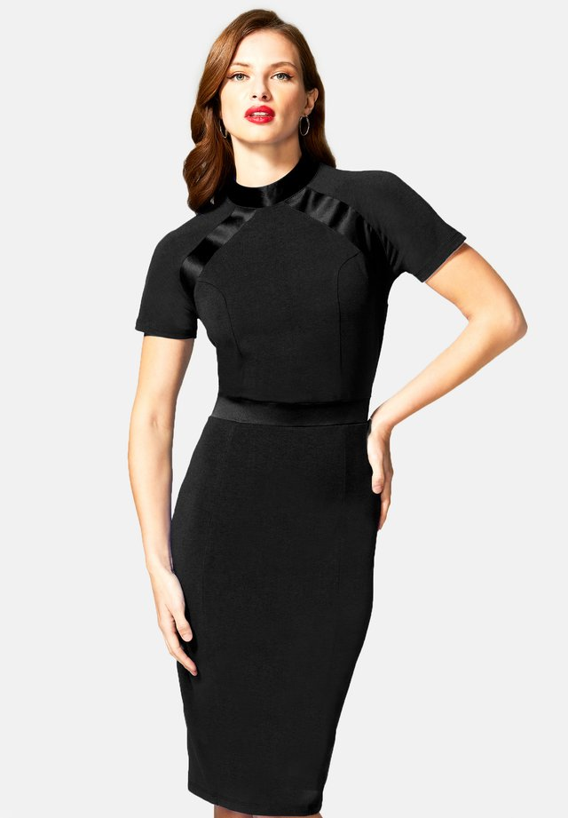 TURTLE NECK DRESS - Freizeitkleid - black