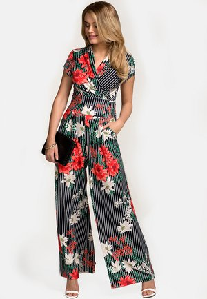 WITH CAP SLEEVE - Jumpsuit - black/ red