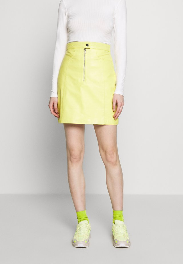 RUDY SKIRT - Leather skirt - yellow