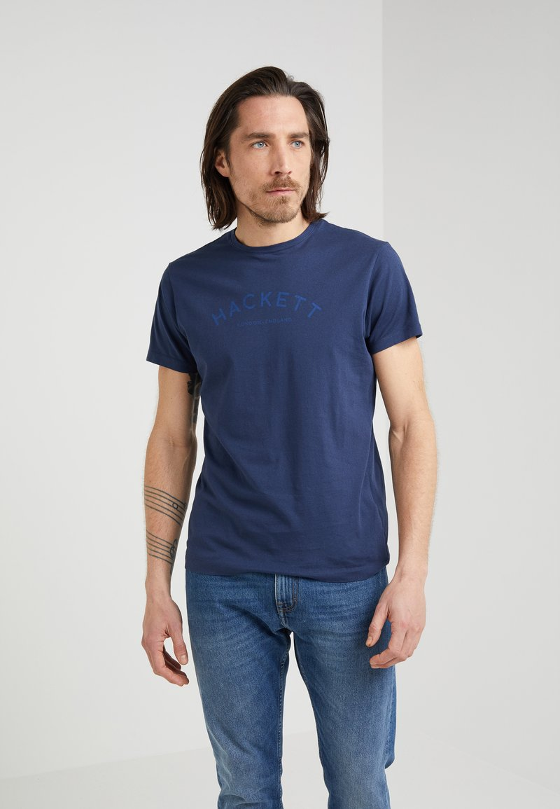 Hackett London - CLASSIC LOGO TEE - T-shirt z nadrukiem - navy