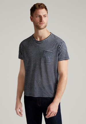LINEN STR POCKET TEE - Basic T-shirt - navy/white